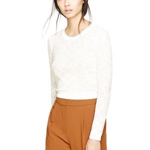 Wilfred Aritzia Lace Cropped Long Sleeve Top